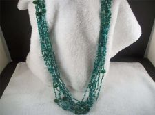 Buy Vintage Green& white glass Seed Bead strand Necklace costume/fashion/christmas