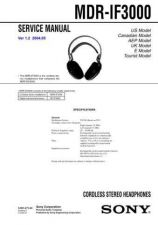 Buy Sony MDR-IF3000 Service Manual. by download Mauritron #242581