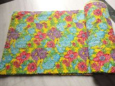 Buy hand made cotton fabric kantha quilt throw rally flower print bed cover sheet