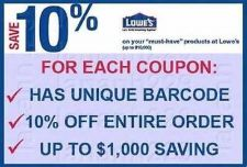 Buy Ten (10) Lowe's 10% off Coupons! Expires 4/10/2014 In Store or Online Printable