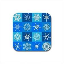 Buy Snowflake Winter Art Set Of 4 Square Rubber Coasters