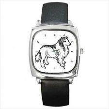 Buy Collie Dog Cartoon Art Image Square Wrist Watch