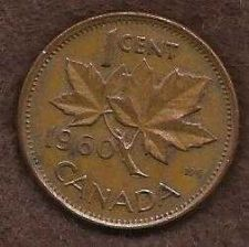 Buy Canada 1 Cent 1960 RED Canadian Canada Maple Leaf Elizabeth II Penny