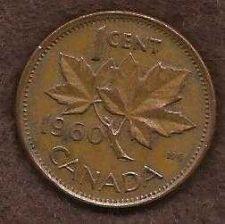 Buy Canada 1 Cent 1960 RED Canadian Canada Maple Leaf Elizabeth II Penny
