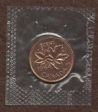 Buy Canada 1 Cent 1964 RED Canadian Canada Maple Leaf Elizabeth II Penny -Sealed!