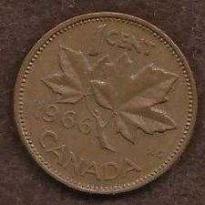 Buy Canada 1 Cent 1966 RED Canadian Canada Maple Leaf Elizabeth II Penny