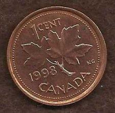 Buy Canada 1 Cent 1998 RED Canadian Canada Maple Leaf Elizabeth II Penny