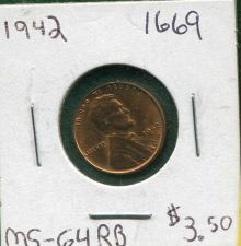 "Buy 1942 ""P"" , "" BU "" , Lincoln Wheat Cent"