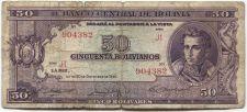 Buy 1945 Banco Central de Bolivia 50 Cincuenta Bolivianos Series J1 Used Circulated
