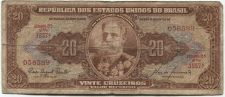 Buy 1955-61 Republica Dos Estados Brasil 20 Vinte Cruzeiros Nice Circulated