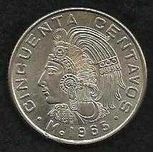 Buy Mexico Mexican 50 Centavos Cuauhtemoc Coin 1965