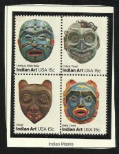 Buy US Indian Masks 1980 - BLOCK OF 4 in high quality mount