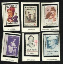 Buy 6 mint unused Famous People stamps Helen Keller/WC Fields/Tom Sawyer/Perkins/Wha