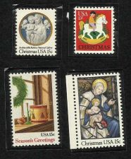 Buy 4 Mint Unused Christmas Stamps 1979-1980 in quality Mounts