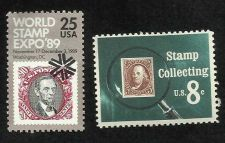 Buy US 1972 Stamp Collecting and 1989 World Stamp Expo Postal value = $0.33