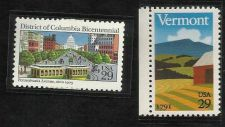 Buy US MINT Vermont 1991 Statehood 29C & District of Columbia 1991 Bicentennial 29C