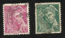Buy France 70C 1939 (Scott 368) & 25c Mercury Stamps Used