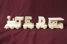 Buy Child's personalized wood name train with 2 letter cars