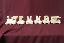 Buy Child's personalized wood name train with 4 letter cars