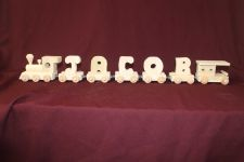 Buy Child's personalized wood name train with 5 letter cars