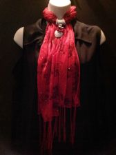 Buy Red Scarf with Silvertone Jewelry