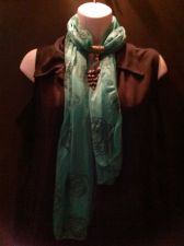 Buy Teal Green Scarf with Goldtone Peacock Jewelry