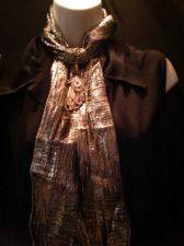 Buy Gold Lame Woven Scarf with Jewelry