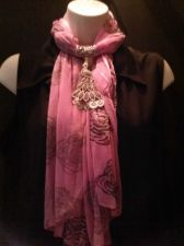 Buy Pink Scarf with Silvertone Jewelry