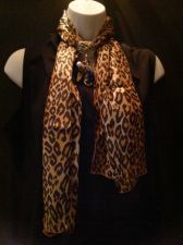Buy Leopard Print Scarf with Goldtone Jewelry