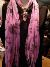 Buy Lavender Scarf with Jewelry Goldtone