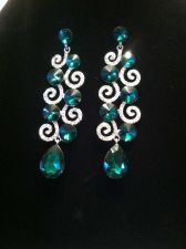 Buy Green Glass Austrian Crystal Earrings Silvertone with Stainless Steel Posts