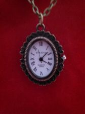 Buy Civil War Vintage Antique Style Womans Pocket Watch Brasstone Chain Carved Rose