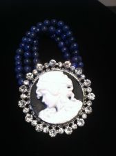 Buy Civil War Vintage Antique Style Lapis Lazuli & Crystal Cameo Bracelet Silvertone