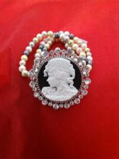 Buy Civil War Vintage Antique Style Pearl & Crystal Cameo Bracelet in Silvertone