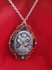 Buy Vintage Antique Civil War Style Gray Cameo Austrian Crystal Pendant in Goldtone