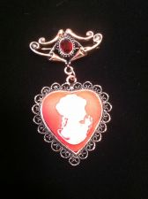 Buy Civil War Style Heartshaped Red Cameo & Red Glass Brooch In Rosetone
