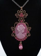 Buy Civil War Vintage Antique Style Woman's Pink Cameo & Crystal Pendant Goldtone