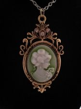 "Buy Civil War Vintage Antique Style Woman's Green Cameo Pendant Goldtone w/20"" Chain"