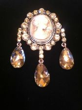 Buy Civil War Vintage Antique Style Champagne Cameo Austrian Crystal Brooch Rosetone