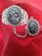 Buy Antique Vintage Civil War Style Gray Cameo Austrian Crystal Cuff With Ring