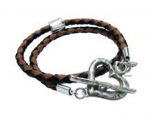 Buy Silver Heart leather wrap bracelet, friendship bracelet - sale