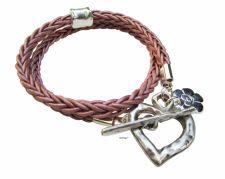 Buy Silver heart leather wrap bracelet, friendship bracelet, silver fashion jewelry