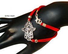 Buy Good Luck Red string Hamsa wrap charm bracelet, silver Hamsa, Kabbalah jewelry,