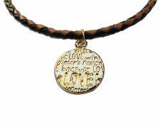 Buy Gold LOVE pendant leather necklace friendship jewelry women fashion pendant