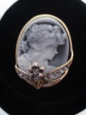 Buy Gray Austrian Crystal, Cameo Brooch in Brasstone