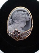 Buy Gray Austrian Crystal, Cameo Brooch in Brasstone