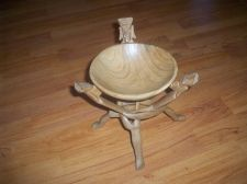 "Buy HAND MADE NATURAL WOOD BOWL SET WITH TRIPOD 8"" MADE IN KENYA"