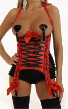 Buy Lace-up Underbust Corset red/black S