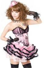 Buy Ruched Tulle Overlay Satin Corset / Skirt Set pink/blk M