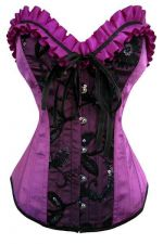 Buy Taffeta Sequin Trim Corset violet/black M